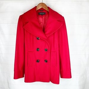 Jones New York Wool Pea Coat 10 Red Double Breast